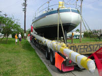Picture of boat on delivery truck