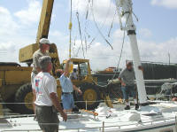 Picture of mast being stepped
